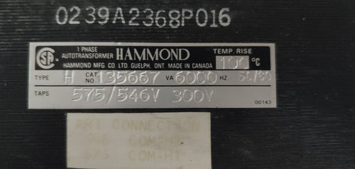 Hammond Transformer Cat no:135667 VA:6000 HV: 575/546V LV: 300