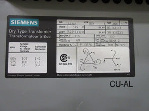 Siemens 3 Phase Transformer 100 KVA 575V to 332Y/575V Volts