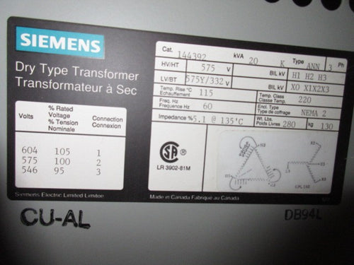 Siemens 3 Phase Transformer 20 KVA 575V to 332Y/575V Volts