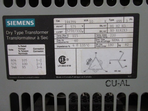 Siemens 3 Phase Transformer 10 KVA 575V to 332Y/575V Volts