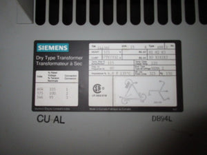 Siemens 3 Phase Transformer 25 KVA 575V to 332Y/575V Volts
