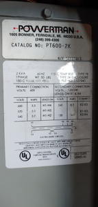 Powertran PT600-2K Type:FB Transformer 1phase