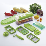 12pcs/Set Vegetable Slicer  Vegetable Grater Gadget Friut Cutter Portable Stainless Steel BladesMultifunctional Tool