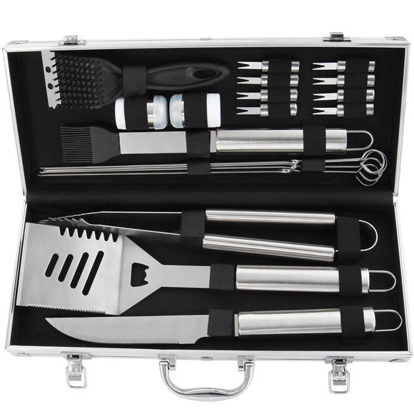 20pcs Stainless Steel BBQ Grill Tools Set - Complete Outdoor Heavy Duty Barbecue Accessories in Aluminum Carrying Case