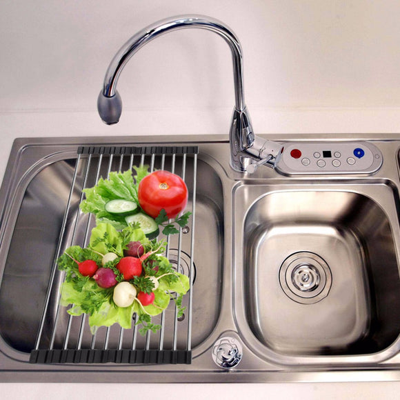 Stainless Steel Sink Rack, Roll Up, Folding Drain Rack