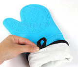 1 pcs Silicone Oven Mitts, Ideal Protection with Extra Long Thick Quilted Cotton Liner, Silicone BBQ Glove