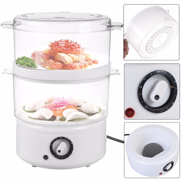 Goplus Electric Kitchen Double-tiered Food Steamer Steaming Bowl Cooking Meal Vegetable Veggie Home Kitchen Tools HW51746