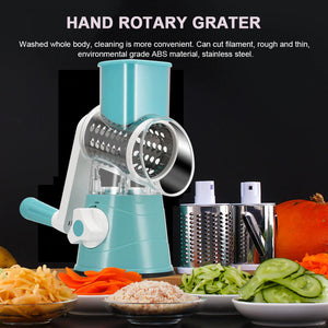 Manual Vegetable Slicer, Comes with assorted blades so you can Slice, Grate or Chop. Easy Fast and Light weight.
