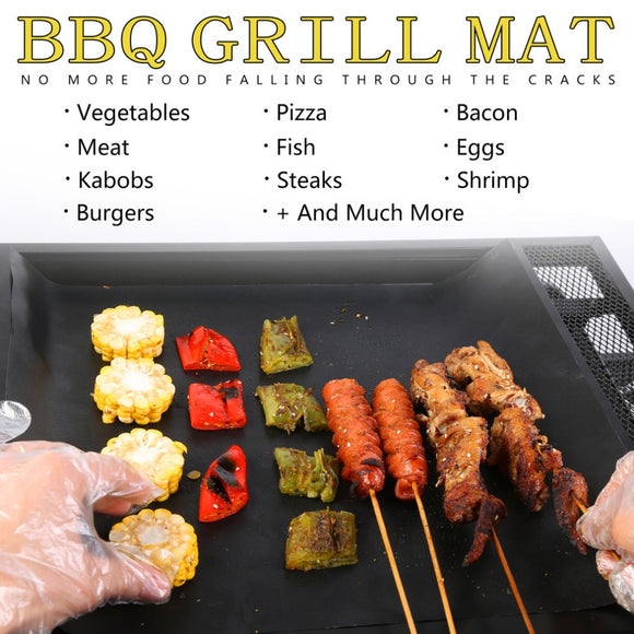 SHIPS FROM USA   2 pcs Reusable Non-Stick BBQ Grill Mat Pad , Can be used for Baking Too...Dish Washer Safe Too