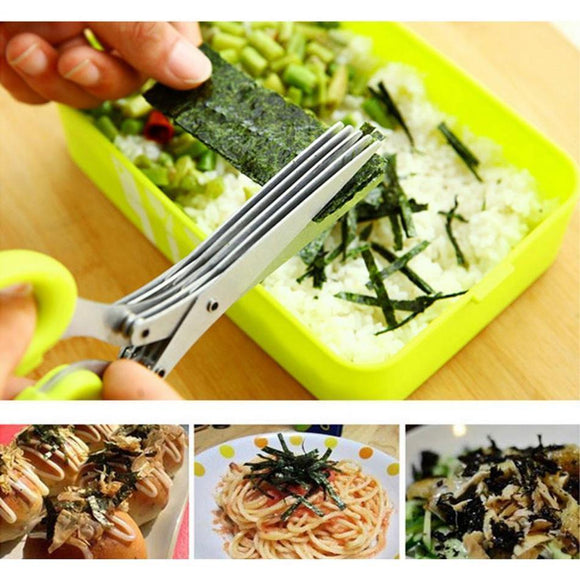 Steel 5 Layers Blade Herb Scissors Multifunctional Kitchen Knives Sushi Shredded Scallion Cut Herb Spices Scissors Cooking Tools