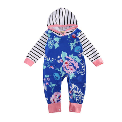 Blue, Mint, Lavender and Pink Flower Striped Hooded Jumpsuit