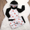 Black and White Fox Hoodie and Leggings