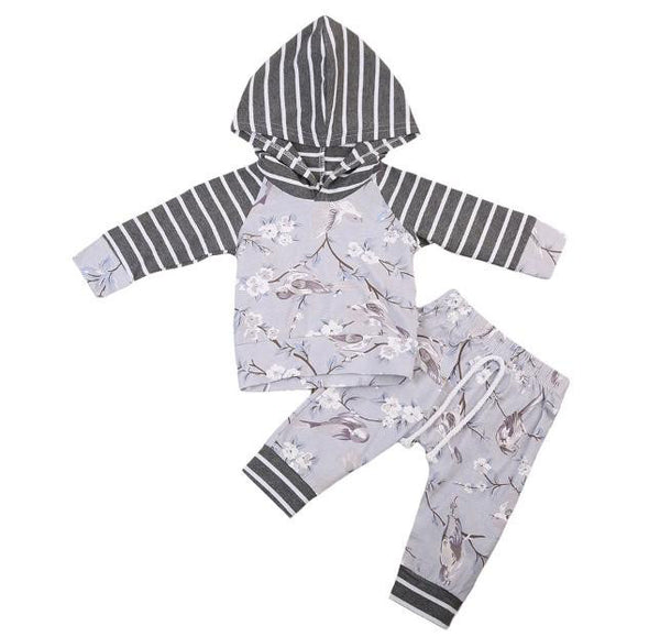 Lavender and Gray Floral Bird Hoodie and Leggings