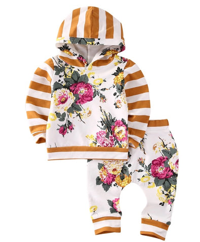 Golden Yellow and Pink Flower Hoodie and Leggings