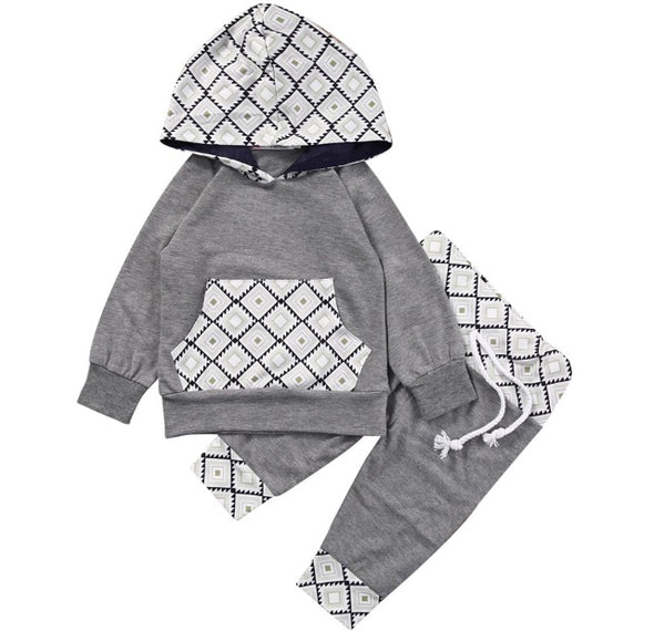 Gray Diamond Print Hoodie and Leggings