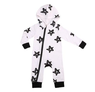 Black and White Star Hooded Jumpsuit