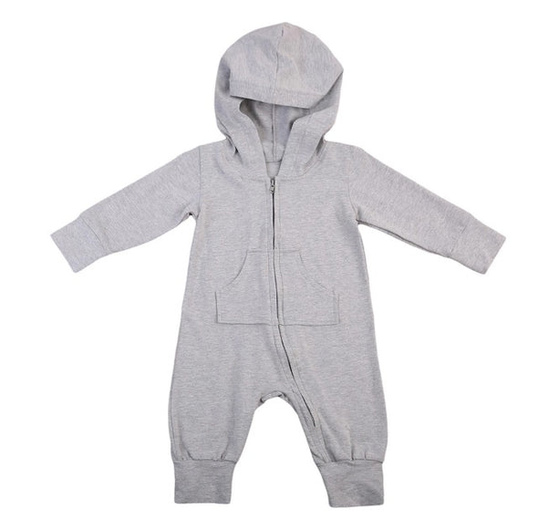 Gray Bunny Hooded Jumpsuit