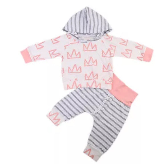 Crown with Gray & White Stripe Hoodie and Leggings