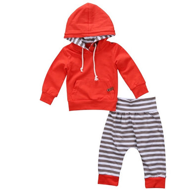 Red and Gray Striped Hoodie and Leggings