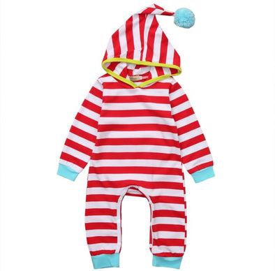 Red Striped Hooded Jumpsuit