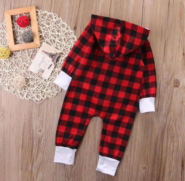 e7f1bd96de Red Plaid Lumberjack Hooded Jumpsuit – Wisemom Baby Boutique