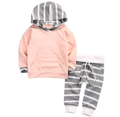 Rose Pink and Gray Striped Hoodie and Leggings