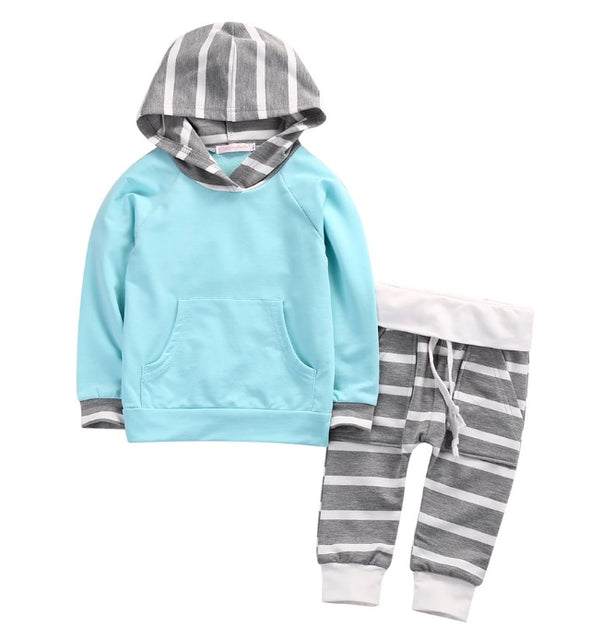 Robin's Egg Blue and Gray Striped Hoodie and Leggings