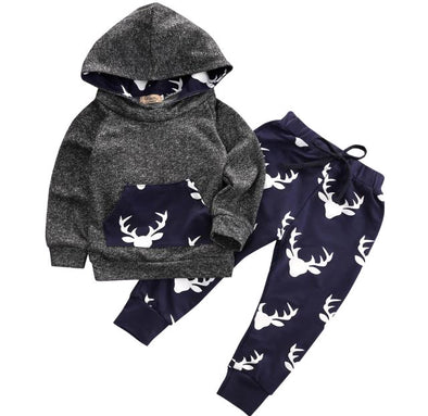 Charcoal and Navy Deer Hoodie and Leggings
