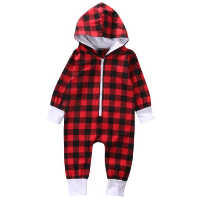 Red Plaid Lumberjack Hooded Jumpsuit