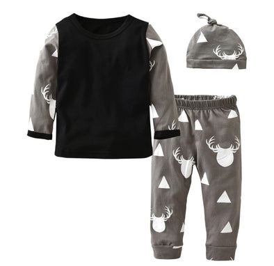 Triangle Deer Long Sleeve 3 Piece Outfit