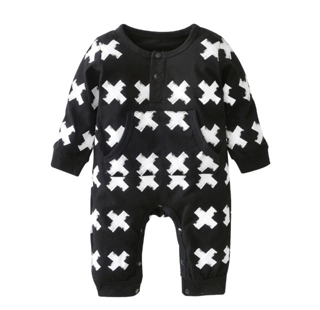 f7eef4103d53 Black and White X Long Sleeve Jumpsuit – Wisemom Baby Boutique
