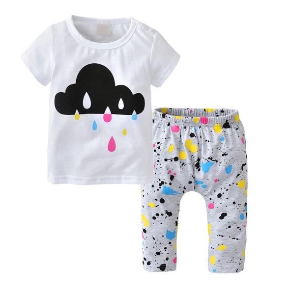 Paint Splatter Raindrops Short Sleeve T-shirt & Leggings