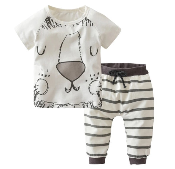 Cartoon Lion Short Sleeve T-shirt & Leggings