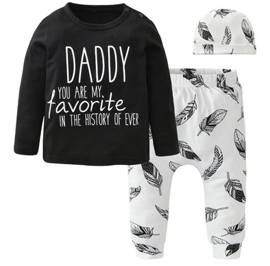 """Daddy You are My Favorite"" Long Sleeve 3 Piece Outfit"
