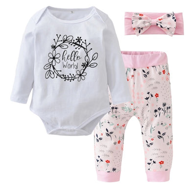 """Hello World"" Pink Long Sleeve Onesie 3 Piece Outfit"