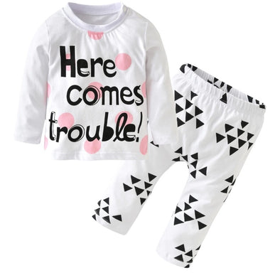 """Here Comes Trouble"" Long Sleeve T-shirt & Leggings"