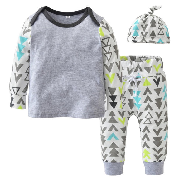 Gray Angles and Arrows Long Sleeve 3 Piece Outfit