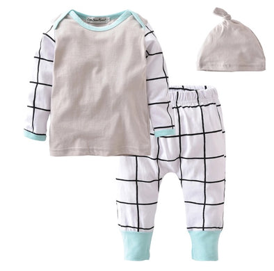 Gray, Mint and White Grid Long Sleeve 3 Piece Outfit