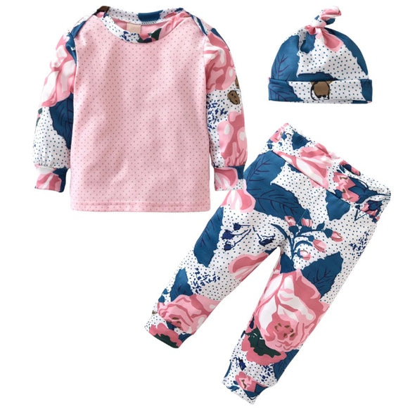 Pink and Blue Flower Long Sleeve 3 Piece Outfit