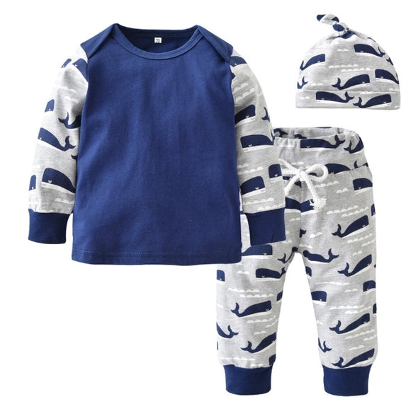 Blue Whale Long Sleeve 3 Piece Outfit