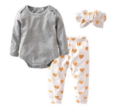 Gray and Gold Heart Long Sleeve Onesie 3 Piece Outfit