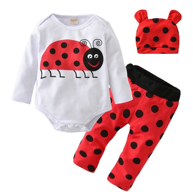 Ladybug Long Sleeve Onesie 3 Piece Outfit