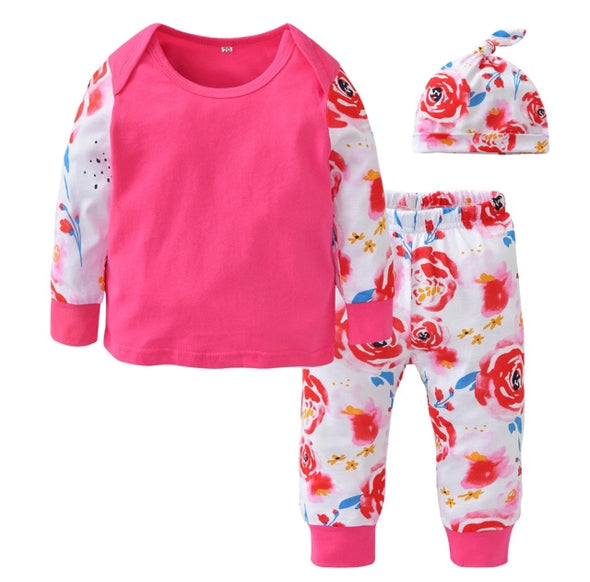 Pink Flower Long Sleeve 3 Piece Outfit