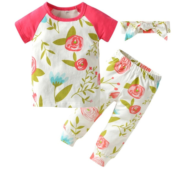 Pretty Pink Flower Short Sleeve 3 Piece Outfit