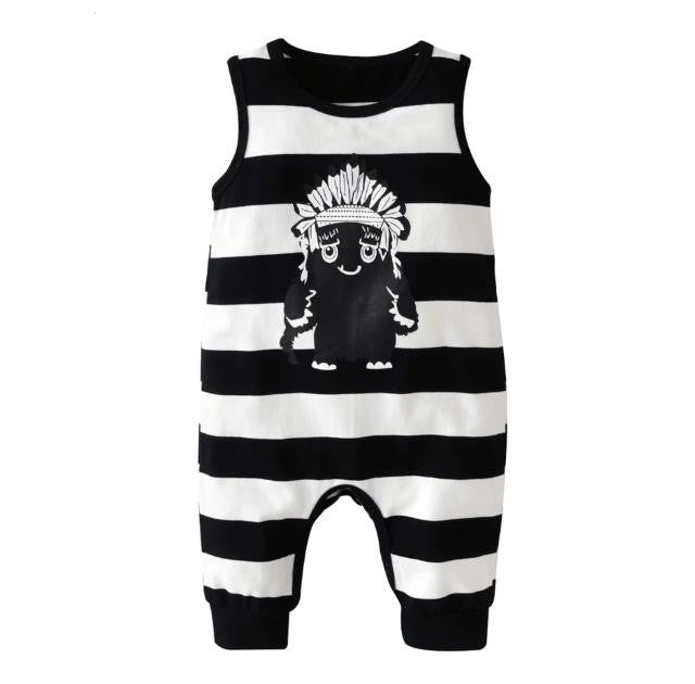 e97ec433db04 Striped Monster Sleeveless Jumpsuit – Wisemom Baby Boutique