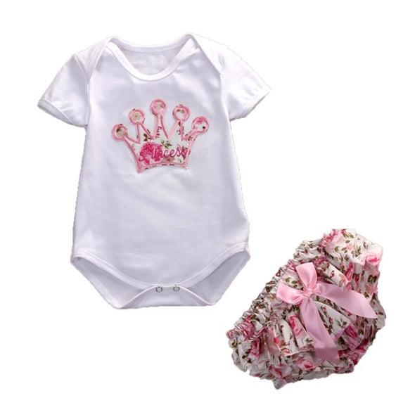 Pink Crown Short Sleeve Onesie Set