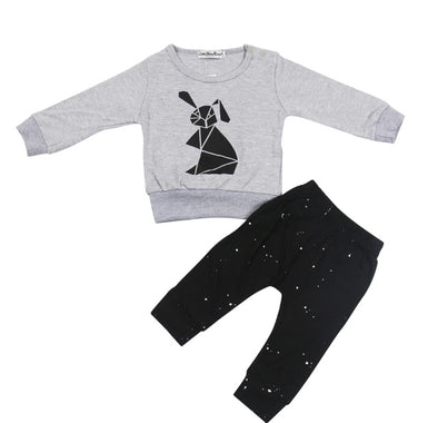 Geometric Bunny Long Sleeve Sweatshirt & Leggings