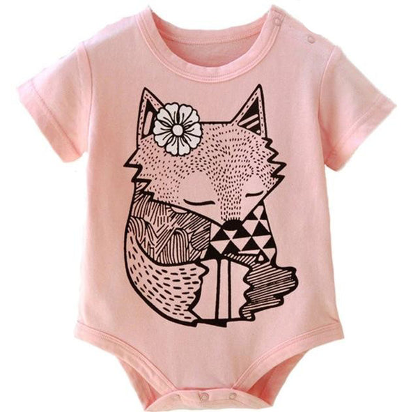 Pink Sleepy Fox Short Sleeve Onesie