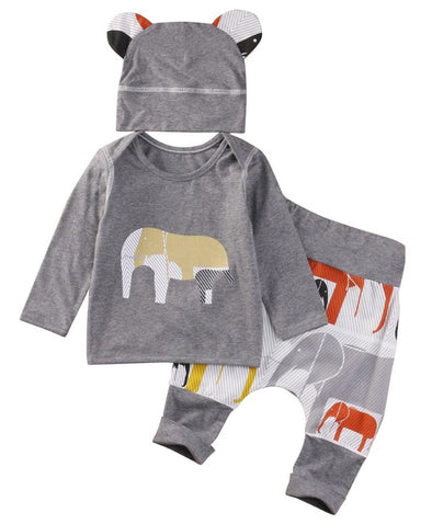 Elephant Long Sleeve 3 Piece Outfit