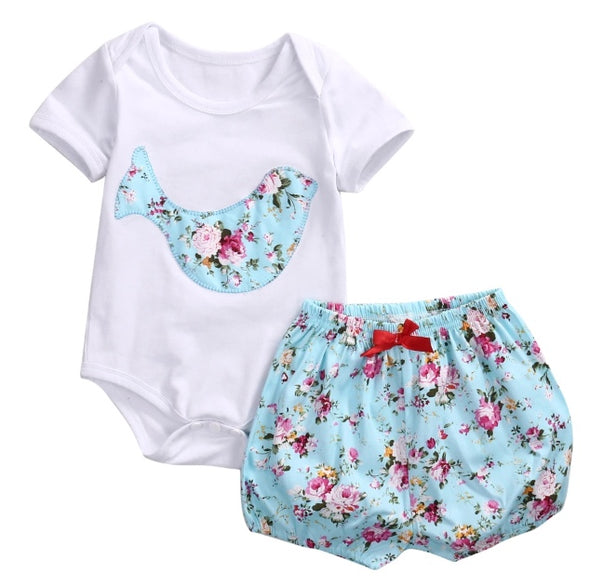 Blue Bird Short Sleeve Onesie Set